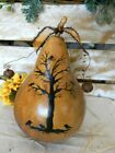 Primitive Halloween Thanksgiving Old Crow Tree Gourd Fall Folk Art Country
