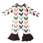 US Toddler Baby Girls Clothes Long Sleeve Flower Ruffle Romper Jumpsuit Outfits