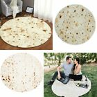 Round Food Burrito Blanket Tortilla Soft Flannel Picnic Throw Blanket Quilt Gift image