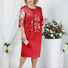 Womens Plus Size Short Sleeve Lace Midi Dress Evening Party Formal Wedding Gown