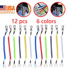 6/12Pcs Safety Fishing Lanyard Multi-Tools Coiled Secure Ropes Steel Wire US