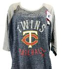 Minnesota Twins MLB Majestic 3/4 Raglan T-Shirt Women's Blue Heather, nwt on Ebay