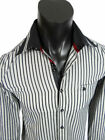 Mens Western Fashion Button Front Dress Shirt Black Bold Grey Stripes w/ Pocket