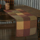 HERITAGE FARMS QUILTED Table Runner Rustic Primitive Patchwork Check Plaid VHC