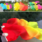 Women Tie dyed Belly Dance Hand Fan Veils long Silk Fan Bamboo Stage Crafts Gift