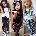 Toddler Kids Baby Girl Outfit Clothes T-Shirt Tops Coat Pants Tracksuit 2Pcs Set