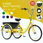 """26""""/24""""/20"""" Adult Tricycle Trike with Large Size Basket for Shopping & Outing"""