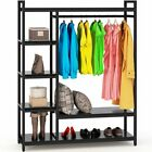 LITTLE TREE Free-Standing Closet Organizer Heavy Duty Clothes Rack w-Handing Bar