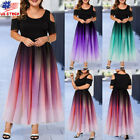 Plus Size Womens Cold Shoulder Maxi Evening Dress Gradient Party Ball Gown Dress $20.28 USD on eBay
