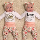 US Newborn Baby Girl Infant Long Sleeve Clothes Set Romper Bodysuit Pants Outfit