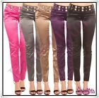 Women's Trousers Satin Ladies Skinny Casual Office Pants Low Rise Size 8-14 UK