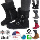Women's Winter Warm Ankle Boots Ladies Fur Snow Buckle Flats Suede Shoes Booties