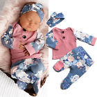 US Newborn Infant Baby Girl Floral Tops T-Shirt Long Pants 3PCS Clothes Outfits