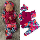 FixedPriceus newborn infant baby girl floral tops t-shirt long pants 3pcs clothes outfits