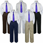 New 3pc Purple Tie Shirt Suit for Baby Boy Toddler Kid Pants Color by Selection
