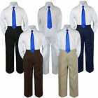 3pc Royal Blue Tie Shirt Suit for Baby Boy Toddler Kid Pants Color by Selection