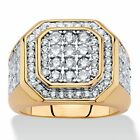 Men's 2.61 TCW Round 14k Gold-Plated Cubic Zirconia Octagon Grid Ring
