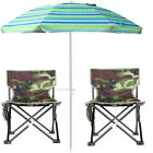 Portable Folding Picnic Hiking Chair Camping Garden Beach Umbrella Parasol Set F