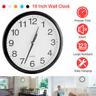 Non Ticking Wall Clock 10 Inch Round Silent Quartz Battery Operated Home Kitchen
