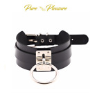 Unisex Vegan Faux Leather Choker Collar with 'O' Ring, BDSM Bondage Style.