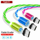 3 Pack 360° Magnetic Glowing Cable Type C / Micro USB Charger For Android Phone