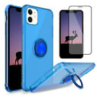 For iPhone 11 Pro Max Case Cover Clear With Ring Holder Stand+Screen Protector