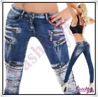 Women's Denim Jeans Sexy Ladies Trousers Low Rise Skinny Hipsters Size 6-12 UK
