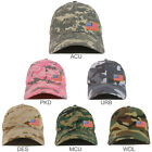 Small Yellow Side American Flag Patch Camo Soft Crown Baseball Cap - FREE SHIP