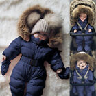 Toddler Baby Boy Girls Winter Romper Jacket Hooded Jumpsuit Thick Coat Outfit AE