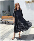 Women's fashion loose comfortable long sections Horn sleeve dress KREDM27050#