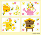 Set Bumble Honey Bee Nursery Prints Baby Girl Wall Art Kids Floral Room Decor
