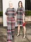 $1990 NEW Oscar de la Renta Tartan Tweed Wide Trousers Pants Black White