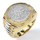 Men's 1/7 TCW Diamond  Ring 18k Gold over .925 Sterling Silver