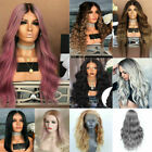 Women Cool Blonde Long Full Wavy Wigs Synthetic Curly Natural Hair Wavy Cosplay