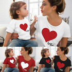 US Family Matching Outfits Mother Daughter Women Girls Tops Short Sleeve T Shirt
