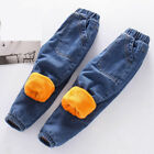 Kids Boys Jeans Denim Winter Fleeced Pants Warm Trousers Casual Loose Trousers