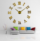 3D Wall Clock Large Roman Numbers DIY Hanging Ornaments Living room Decoration
