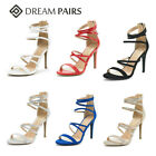 DREAM PAIRS Women High Stilettos Heel Sandals Open Toe Strappy Back Zip Shoes