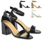 New Womens Low Block Heel Sandals Ladies Ankle Strap Work Smart Shoes Size 3-8