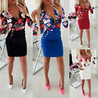 Womens SEXY Floral Bodycon Dress Ladies Evening Party Long Sleeve Mini Dresses