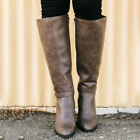 Women Ladies Knee Calf High Boots Chunky Heel Extra Wide Leg Flat Shoes Size 4-6