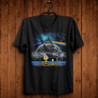 New Peanuts Charlie Brown & Snoopy Pink Floyd Dark Side Moon Black T Shirt S-6XL image