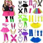 80's Neon Fancy Party Dress Tulle Tutu Skirt Gloves Leg Warmers Glasses Costume $11.01 USD on eBay