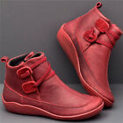 Womens Winter Arch Support Ankle Boots Ladies Lace Up Casual Flat Shoes Size