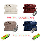 Quilted Fleece Channeled Electric Heated Blanket Warm W/ Auto Off Function image