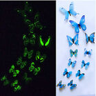 12 x 3D Luminous Butterfly Wall Stickers Home Decor Sticker Bedroom Girl