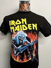 BRAND NEW IRON MAIDEN TILTED YELLOW BAND NAME BLUE EDDIE FLAMES BLACK T SHIRT image