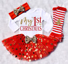 My First Christmas Infant Baby Girl Romper+Dress+Leg Warmers Outfits Clothes US