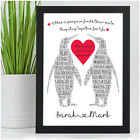 PERSONALISED Anniversary Gifts for Couples Girlfriend Boyfriend Penguin Couple