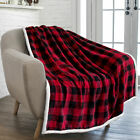 Plaid Buffalo Checker Christmas Throw Blanket Soft Sherpa Fleece for Sofa Couch